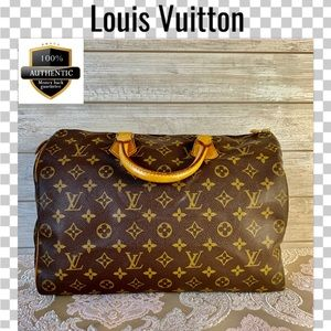 Louis Vuitton satchel bag 35 speedy boston monogra